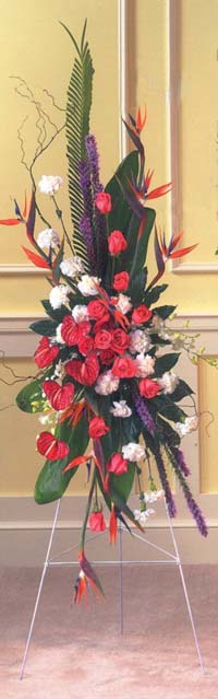 Tropicals Standing Funeral Spray Elaine S Florist Gift Baskets Houston Tx